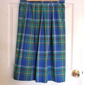 Vintage plaid wool A line skirt EUC